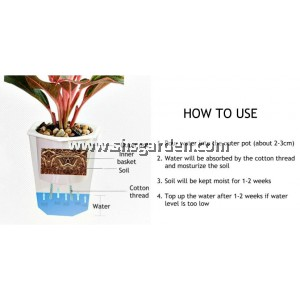 SHS Kebun Self-watering Pot Hydroponic Pot  (Transparent Round 105)