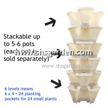 Stackable Multi-level Vertical Planter Flower Pot 4 Planting Pockets (Small) Beige