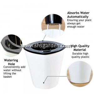Shopee HT23 SHS Kebun Self-watering Pot Hydroponic Pot (White Tall)