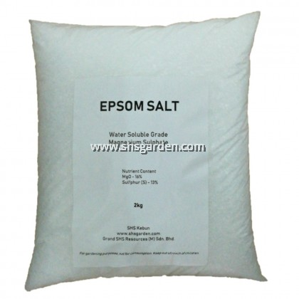 Epsom Salt 2kg (Magnesium Sulphate / Magnesium sulfate Mg2SO4) Agricultural Grade for Gardening