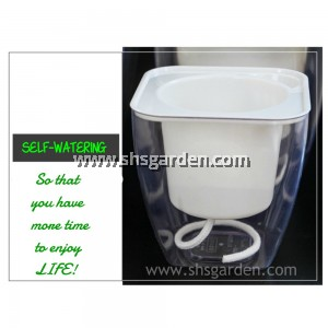 Medium Transparent Self-watering Pot Hydroponic Pot (White Square SQT175)