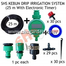 25m DIY Micro Drip Irrigation System + Electronic Automatic Watering Timer (SHS Kebun)