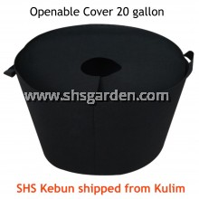 Large Black Nonwoven Planter Bag with Openable Cover 20 gallon