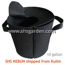 Large Black Nonwoven Planter Bag with Cover 10 gallon