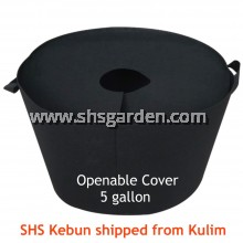 Medium Black Nonwoven Planter Bag with Openable Cover 5 gallon