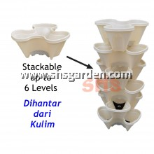 Stackable Vertical Pot Flower Pot 3 Planting Pockets (Small) SHS KEBUN