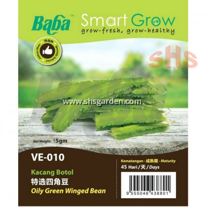 Baba Oily Green Winged Bean Seeds Non GMO Benih Kacang Botol Smart Grow VE-010 SHS Kebun
