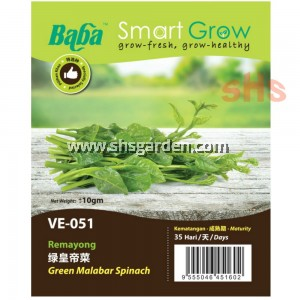 Baba Green Malabar Spinach Seeds Benih Kemayong Non GMO Smart Grow VE-051 SHS Kebun