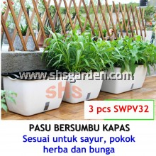 3pcs 2-Layer Self watering Pot Pasu Bersumbu Hydroponic Pot Wicking System (SWPV32) Lazy Pot 32x22.5x19.5 cm SHS KEBUN