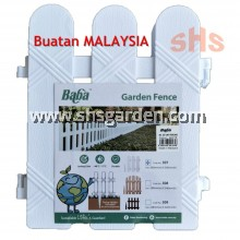 4 pcs Baba Garden Fence 307 26.4X5.2X30cm with Fence Holder Recyclable PP Plastic SHS KEBUN
