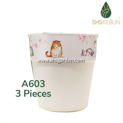 2-Layer Self Watering Small Pot Cat Design with Hydroponic Pot Home Outdoor Garden SHS KEBUN A603 A605