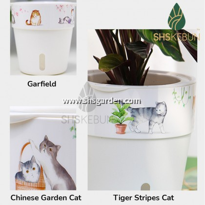 2-Layer Self Watering Large Pot Cat Design with Hydroponic Pot A607 16.6 Diameter x 17cm Height Home Outdoor Garden SHS KEBUN